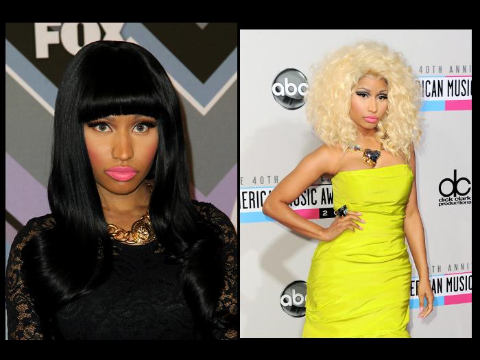"""<p>Nicki Minaj gosta de usar vários visuais. Espie ela morena e depois loira. <a href=""""http://www.vagalume.com.br/nicki-minaj/"""">Veja mais aqui</a></p>"""