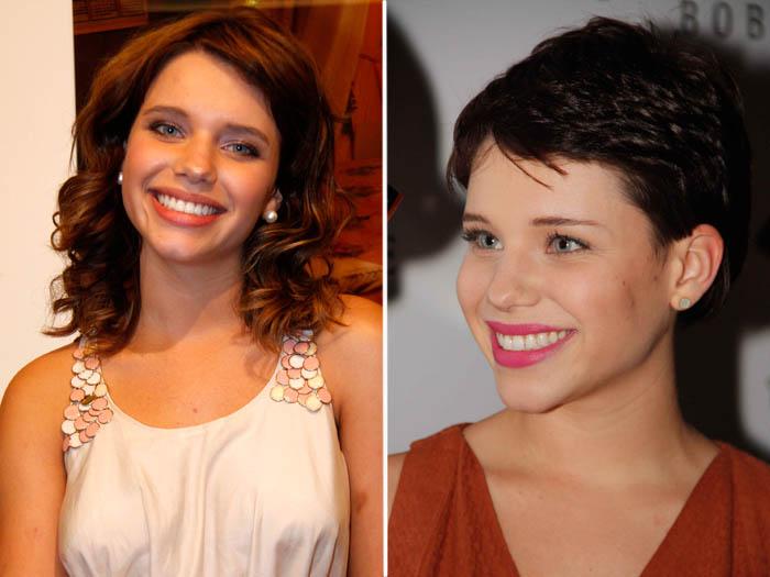 <p>Bruna Linzmeyer tinha cabelos abaixo do ombro, mas, para viver Leila em <em>Insensato Coração </em>(Globo), aderiu ao joãozinho</p>