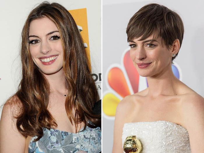 <p>Anne Hathaway viveu personagens inesquecíveis, como a Mia, de <em>O Diário da Princesa, </em>e Andy, de <em>O Diabo Veste Prada</em>, com cabelão. Mas também ficou um arraso com os fios bem curtinhos</p>