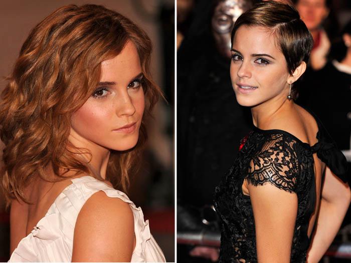 <p>Foi só a saga <em>Harry Potter</em> chegar ao fim que Emma Watson deixou para trás o visual de Hermione, radicalizando a cabeleira</p>